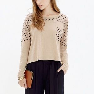 Madewell Effortless Polka Dot Long Sleeve Tee Top